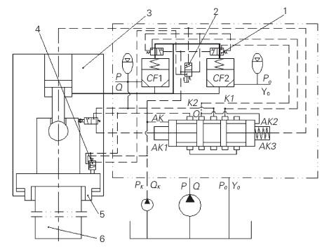 图2 某新型氮爆式液压打桩锤脱、断桩与漏气保护液压系统原理图