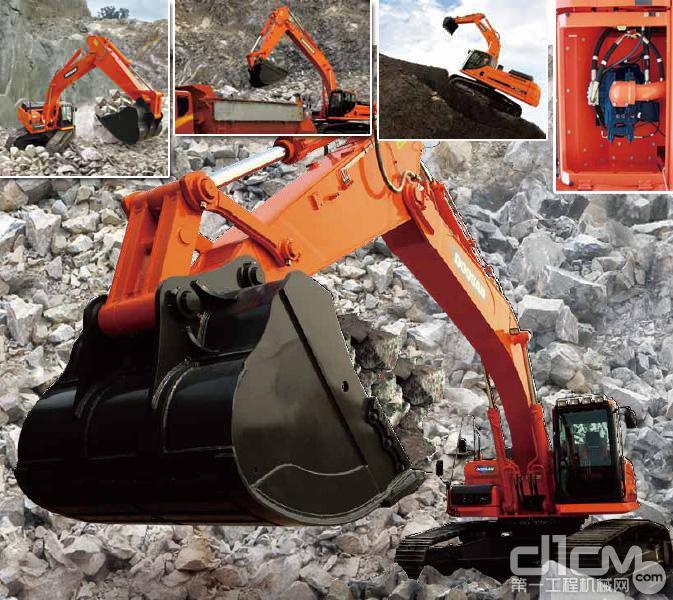 DX380LC挖掘机在挖掘能力、装车性能、作业稳定性、驱动力等方面