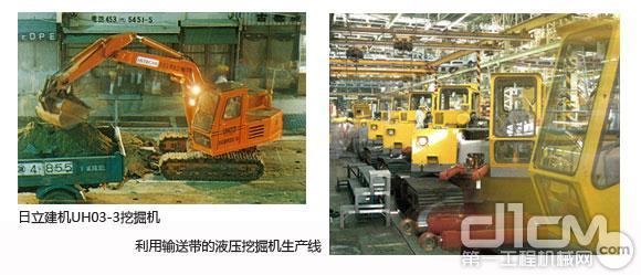 日立建机UH03-3挖掘机和利用输送带的液压挖掘机生产线