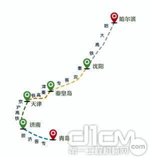 从哈尔滨西站出发,经哈大高铁至沈阳北站,转秦沈客专(京哈线)到秦皇岛