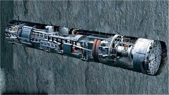 TBM掘进机 据悉,神华神东补连塔煤矿工程积极引入了世界尚属首例的单护盾TBM长大煤矿斜井施工技术。大直径TBM(隧道掘进机)由主机、设备桥、后配套三大部分组成,全长165米,重达1560吨,开挖直径7.6米,由中国铁建重工集团和神华神东公司联合研发生产。据施工方中国铁建十一局集团项目经理张开顺介绍,采用该设备开挖煤矿隧道,具有安全系数高、速度快、经济环保、成洞质量好、占地少等特点,同时具备大流量通风除尘、排水量大、长距离重载物料运输、有害气体防治等特点。 这次开工的神华神东补连塔煤矿二号辅运平硐工程