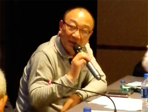 现任轮值会长南京钢加工程机械实业有限公司董事长谢邦荣讲话
