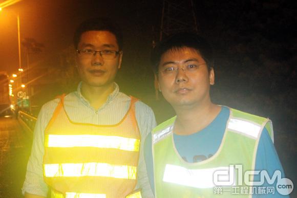 徐工研发工程师:王飞(左)和井然(右)