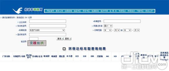 VECC网站(机动车环保网)上产品需要填写的内容资料很全面