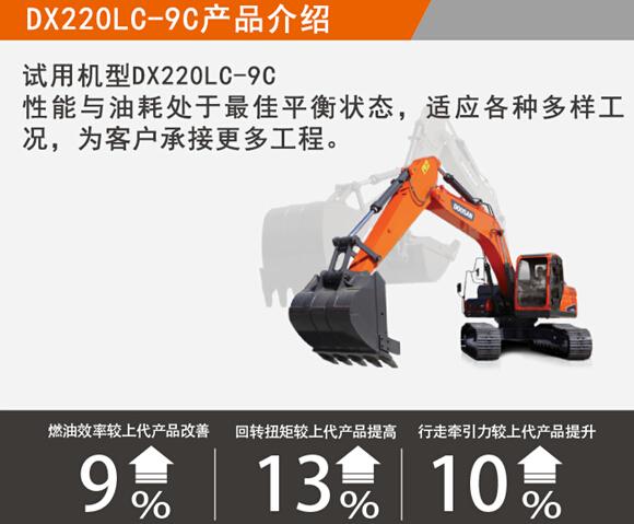 真男人专属利器 斗山推DX220LC-9C免费试用30天活动