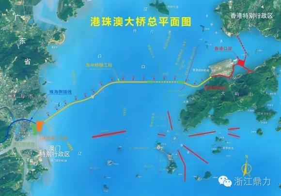 珠港澳大桥总平面图-浙江鼎力为世界最长跨海大桥施工保驾护航