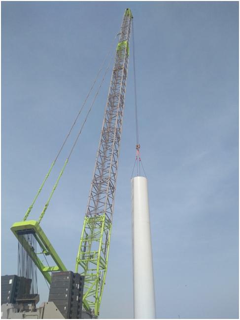quy650起重机精确吊装风电塔筒