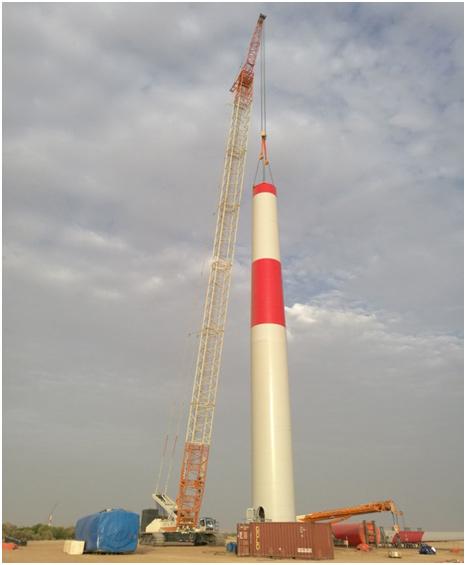 QUY500履带起重机正在风电项目现场施工