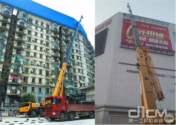 XCT100在市区高层建筑800平米广告牌拆除