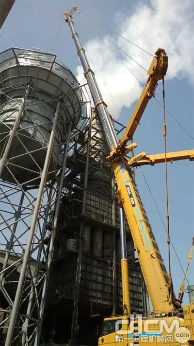 XCA300在唐山滦县东海钢铁厂对湿电除尘设备安装工程中施工