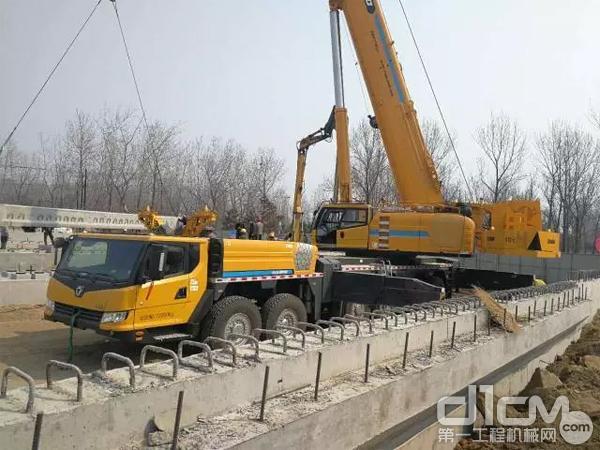 XCA300在秦皇岛黄金海岸新建快速路桥梁吊装工程中施工