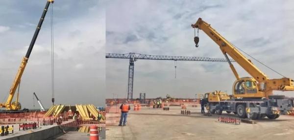 徐工设备在墨西哥新国际机场进行吊装作业