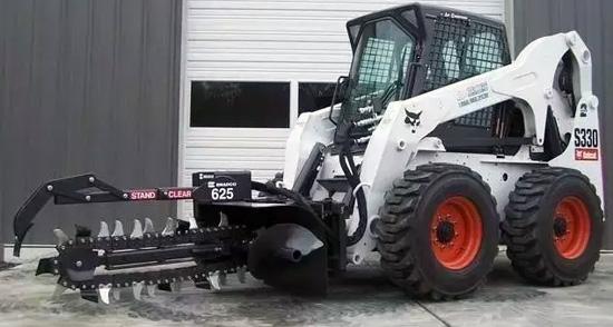 山猫滑移机+连续开沟器,效率高过小挖数倍