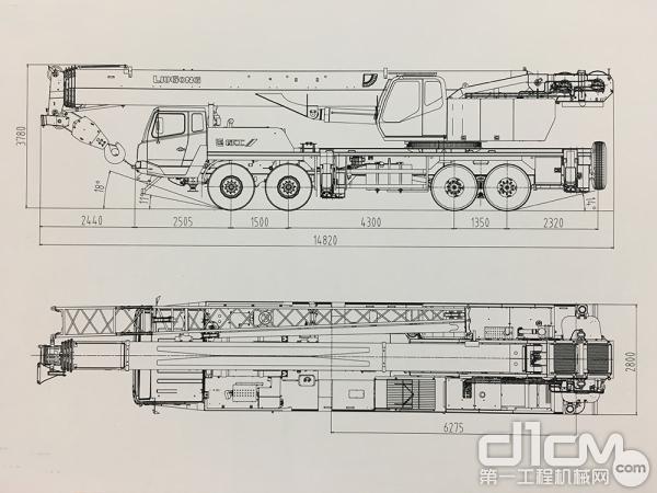 柳工TC750C5汽车起重机整机尺寸图