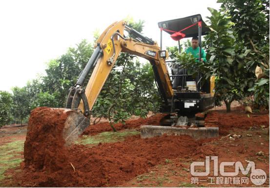 图:SY16C微挖在柚子园施工