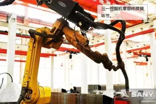 三一挖掘机零部件焊接环节。