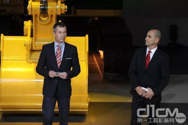 卡特彼勒全球基础建设部全球副总裁任达明先生,与卡特彼勒建筑工程产品部全球副总裁Anthony Fassino先生向大家隆重介绍了11款新机