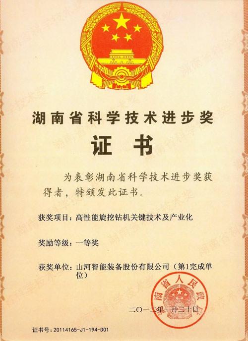 湖南省科技进步一等奖