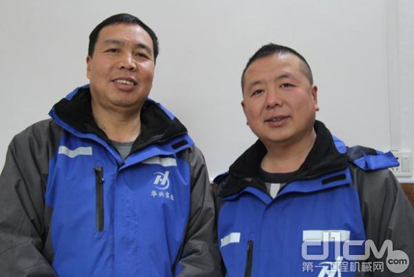 华兴实业集团友谊万豪搅拌站公司伍总(左)和王总(右)
