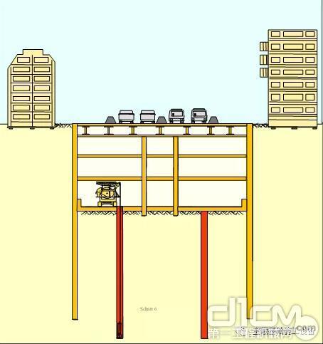 图为1991年在日本地铁施工的第一台宝峨MBC 30低净空铣槽机施工示意图。该设备不但在地面完成了道路两侧的连续墙,而且在地铁车站内部完成了设计的地下连续墙,充分发挥了宝峨低净空铣槽机的优势。