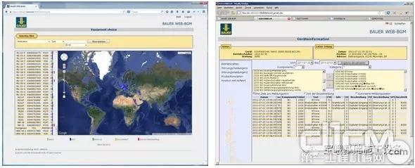 图为WEB-BGM显示的设备位置信息和施工数据。