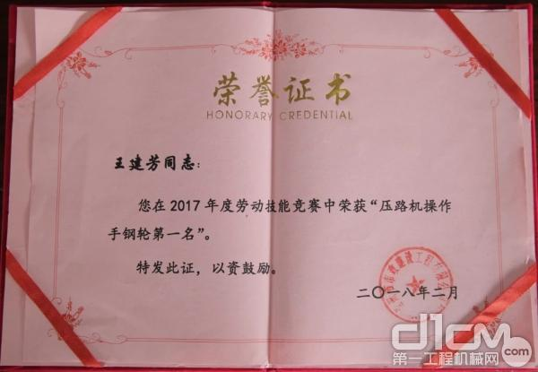 王建芳的获奖证书