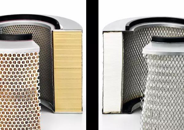 空气滤芯对比(左侧原厂滤芯,右侧仿冒品)(图片来自网络)