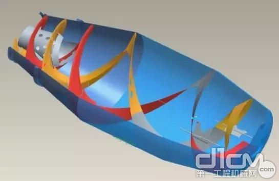 搅拌筒筒体和双对数变参数螺旋叶片,采用520JJ搅拌筒专用耐磨钢板制造