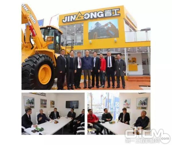 中国工程机械协会会长祁俊先生、中国机电产品进出口商会副会长王贵清先生一行莅临晋工展位