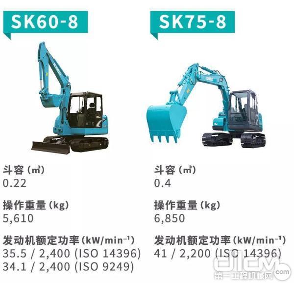 """神钢""""兄弟款""""小挖SK60-8和SK75-8大对比"""