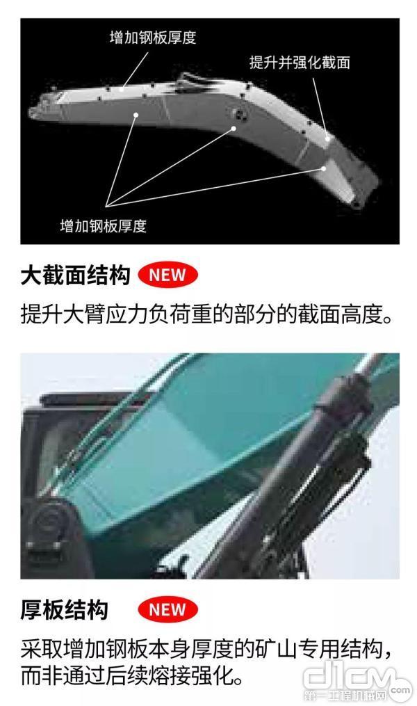 新开发出钢板增厚矿山专用大臂
