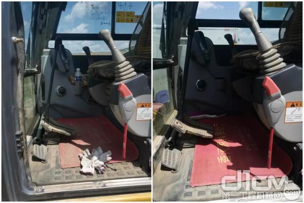 左图为清理之前的驾驶室内部;右图为经过徐工挖机服务工程师清理之后的驾驶室内部