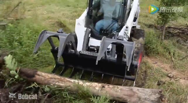 山猫滑移装载机万能属具之园林抓斗