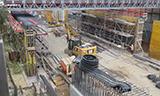 高速公路工地的工程机械工作