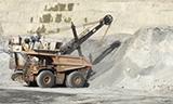 Bucyrus矿用正铲挖掘机装载卡特797f卡车
