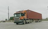斯堪尼亚卡车行驶在广西北部湾