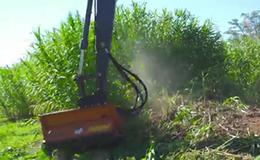 沃尔沃EC220ELR长臂挖掘机与Berti液压修剪机一起工作