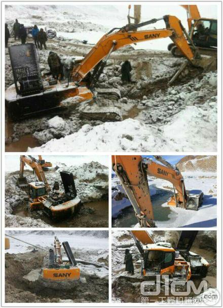 泥沙中的挖掘机