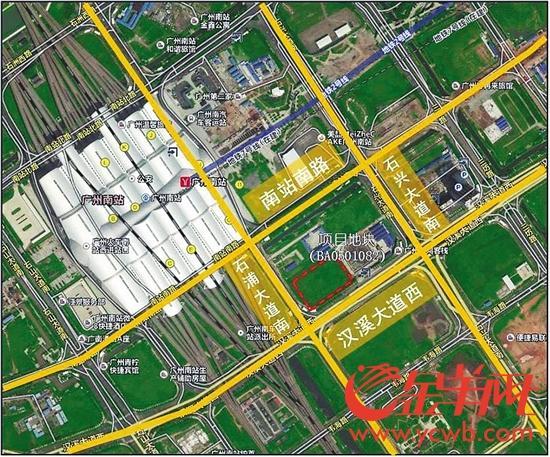 广州南站地下空间改造项目位置示意图(红线内区域)