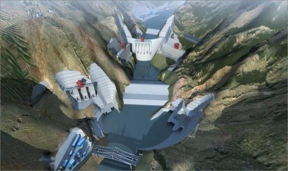 图为:乌东德水电站建成后效果图