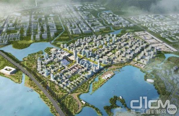 江西榕越建筑工程有限公司在南昌赣江新区儒乐湖生态治理项目的施工现场
