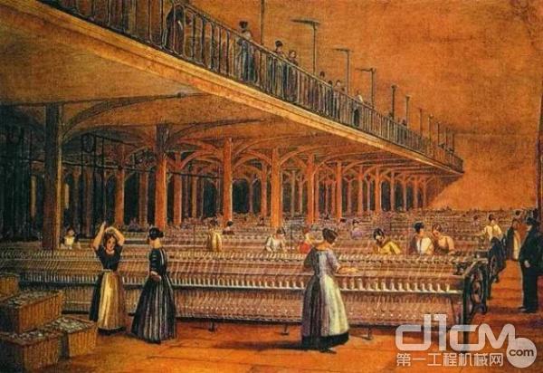 图为18世纪英国工业革命时期的纺纱厂
