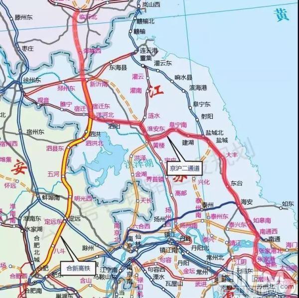 合新高铁及京沪二通道江苏段示意图(此图仅为初步设计方案,非最终走向)