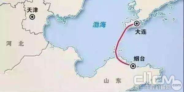 渤海湾跨海通道示意图