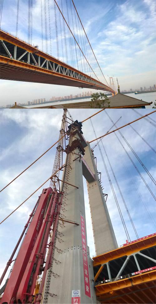 三一设备助力世界最大跨度双层公路悬索桥——杨泗港长江大桥