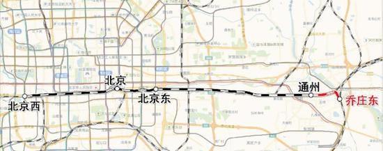 北京市市郊铁路城市副中心线明起延至乔庄东
