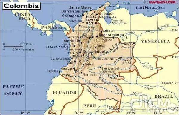 哥伦比亚位置示意