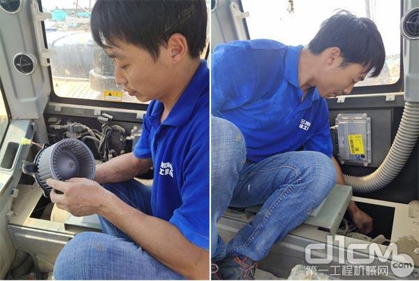 徐工挖机服务人员在为设备清洗零部件