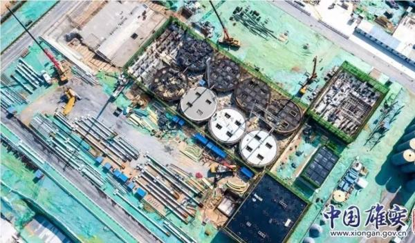 航拍容西混凝土搅拌站项目施工现场