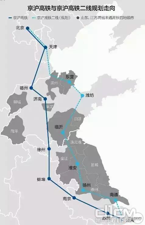 京沪高铁与京沪高铁二线规划走向